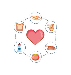 healthy heart with set icons vector image