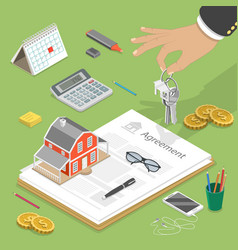 House buying flat isometric concept vector