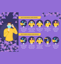 How to wear and remove medical mask properly vector