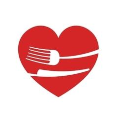 Icon fork knife heart kitchen design vector