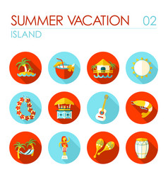 island beach flat icon set summer vacation vector image