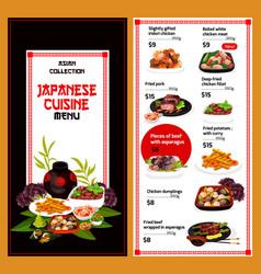 Japanese cuisine dishes menu vector