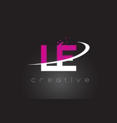 Le l e creative letters design with white pink vector