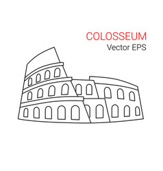 line icon of colosseum rome italy vector image