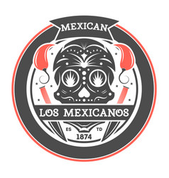los amigos isolated label with mexican skull vector image
