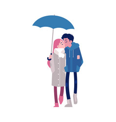 loving couple kissing under vector image