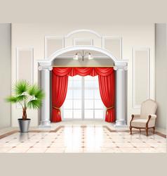 Luxury curtains realistic interior design vector