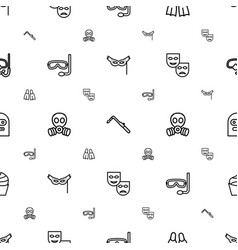 mask icons pattern seamless white background vector image