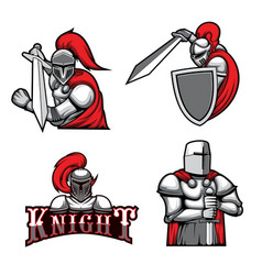 medieval knights heraldic mascots warriors vector image