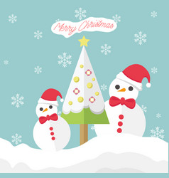 merry christmas snowman with snowflakes vector image