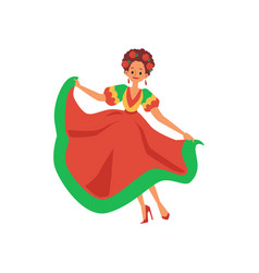 mexican dancer woman in red and green dress with vector image