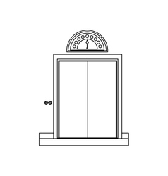 Monochrome contour with elevator closed door vector