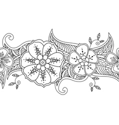 Monochrome seamless pattern floral border isolated vector
