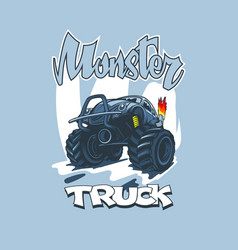 Monster truck in cartoon style on a blue vector