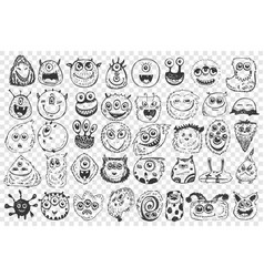 monsters hand drawn doodle set vector image