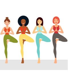 Multi ethnic female friends exercising yoga vector