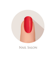 Nail polished finger sign nail beauty salon icon vector