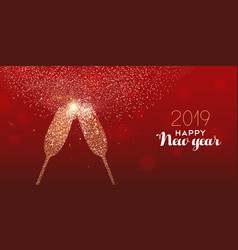 new year 2019 gold glitter glass toast card vector image