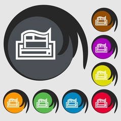 Newspaper icon sign Symbol on eight colored vector image