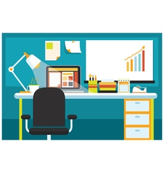 Office Room with Desk and Office Supplies vector image