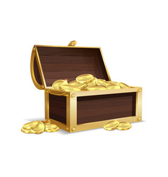 open wooden chest ancient gold shiny coins vector image