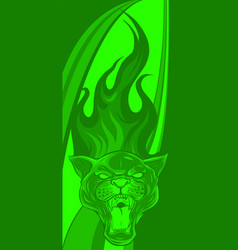 Panther design with flames vector