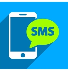 Phone SMS Flat Square Icon with Long Shadow vector image