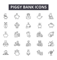 piggy bank line icons signs set outline vector image