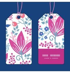 Pink flowers vertical stripe frame pattern vector