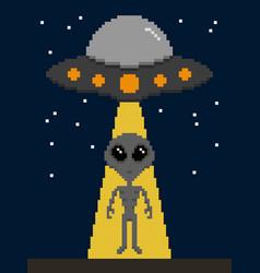 pixel art alien invasion on earth vector image