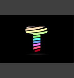 Rainbow t alphabet letter stripes logo icon design vector
