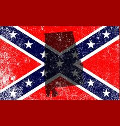 Rebel civil war flag with alabama map vector