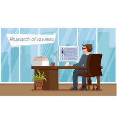 research of resumes flat vector image