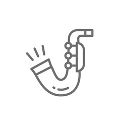 saxophone trumpet line icon vector image