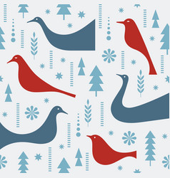 seamless christmas pattern stylized birds vector image