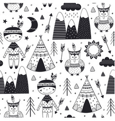 Seamless pattern with tribal boy and owl vector