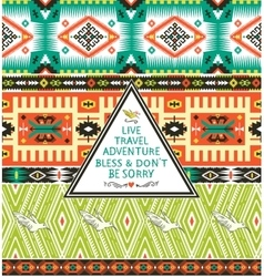 Seamless tribal pattern with geometric elements vector