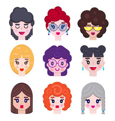 set girls avatar vector image
