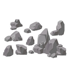 set of rocks and stones vector image