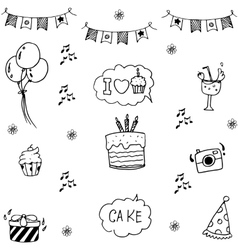 Set Party in doodle art vector