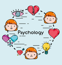 set psychology problem and therapy treatment vector image