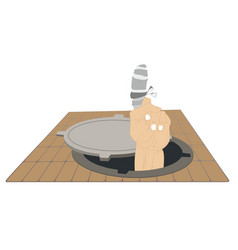 Sewer manhole and injured finger with bandage vector