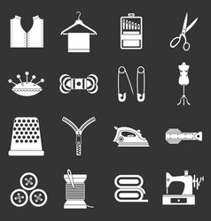 sewing icons set grey vector image