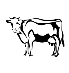 silhouette of cow vector image