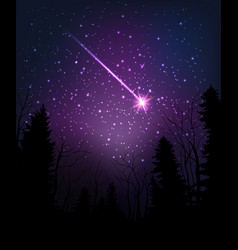 star falling through dark night starry sky above vector image