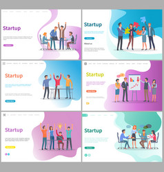 Startup presentation on whiteboard partners set vector