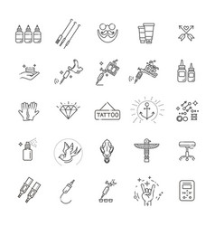 tattoo salon master icon set vector image