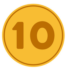 Ten gold coin vector