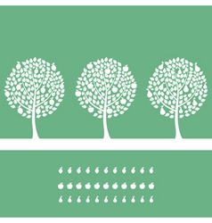 three trees on a green background a vector illustr vector image