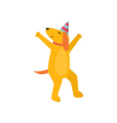 ute cheerful orange dog is having fun and having vector image